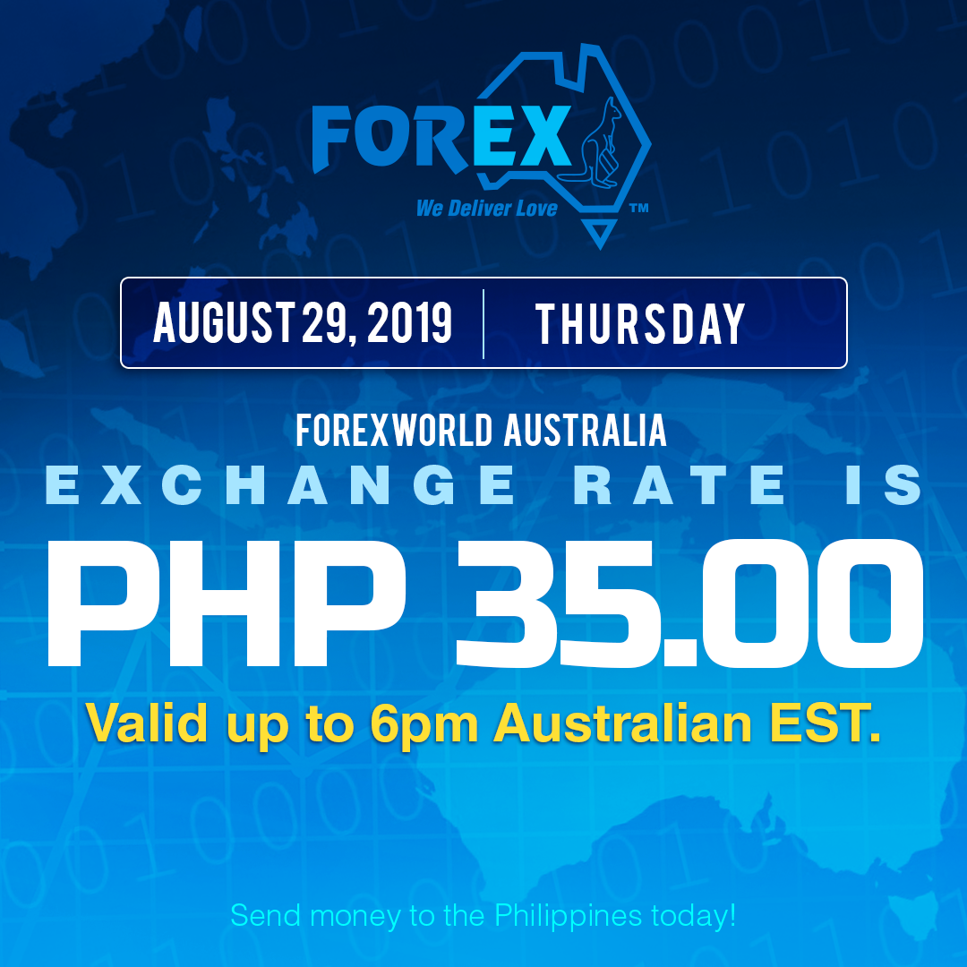 Australian Dollar Philippines Peso exchange rate August 29, 2019