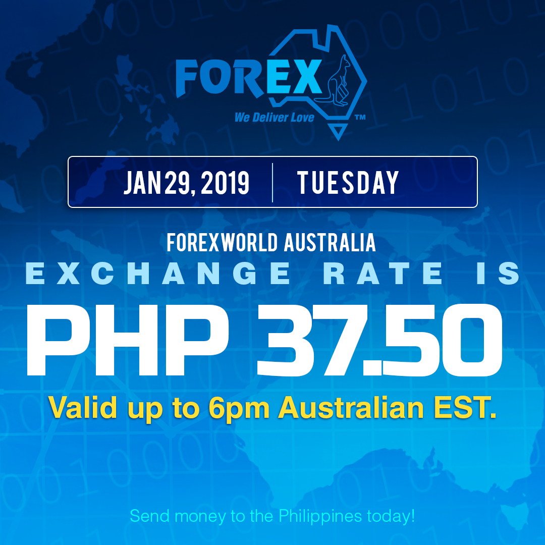 Australian Dollar Philippines Peso exchange rate January 29, 2019