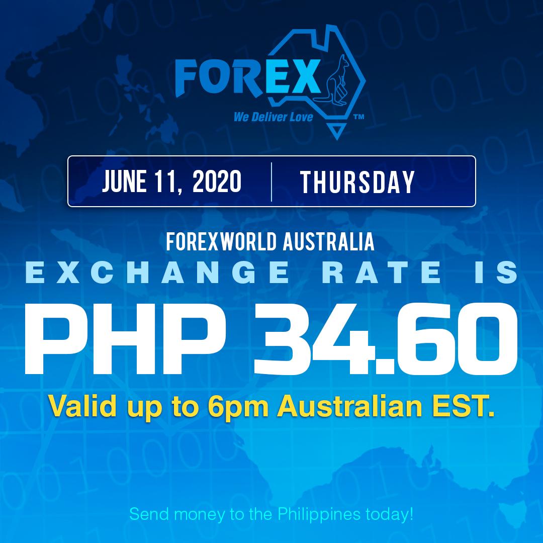 Australian Dollar Philippines Peso exchange rate June 11, 2020