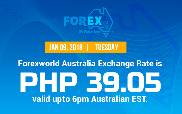 Australian Dollar Philippines Peso exchange rate January 9, 2018