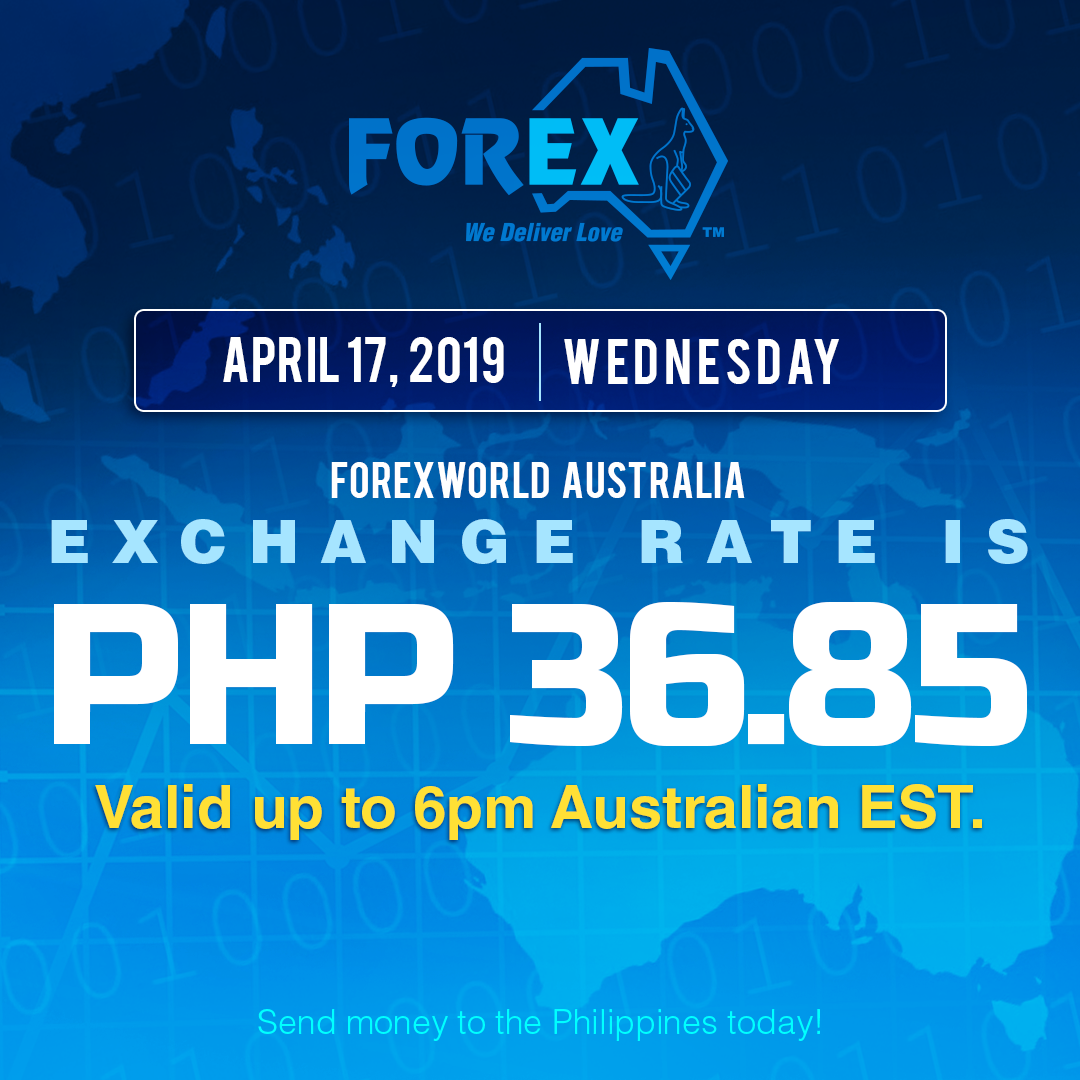 Australian Dollar Philippines Peso exchange rate April 17, 2019