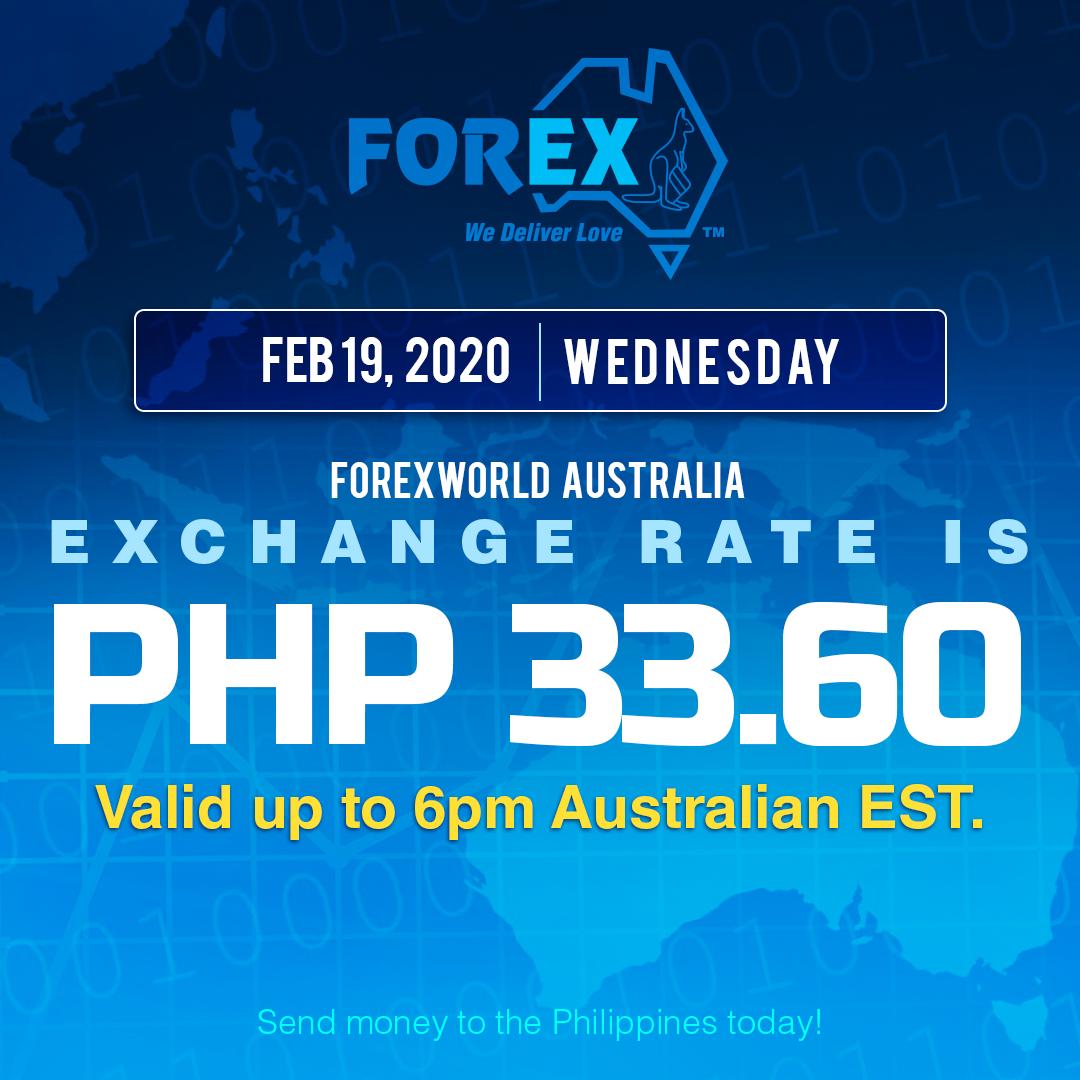 Australian Dollar Philippines Peso exchange rate February 19, 2020