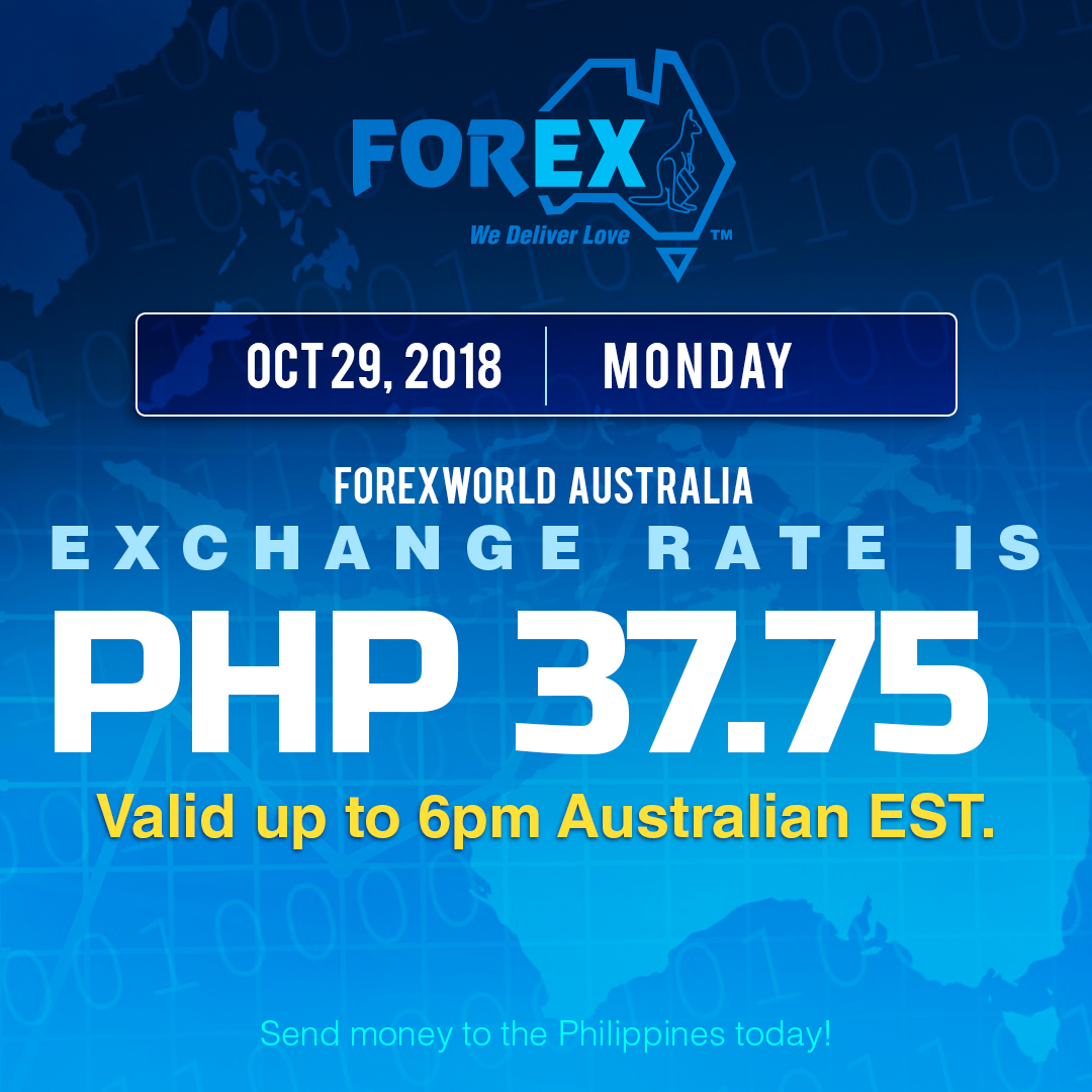 Australian Dollar Philippines Peso exchange rate October 29, 2018