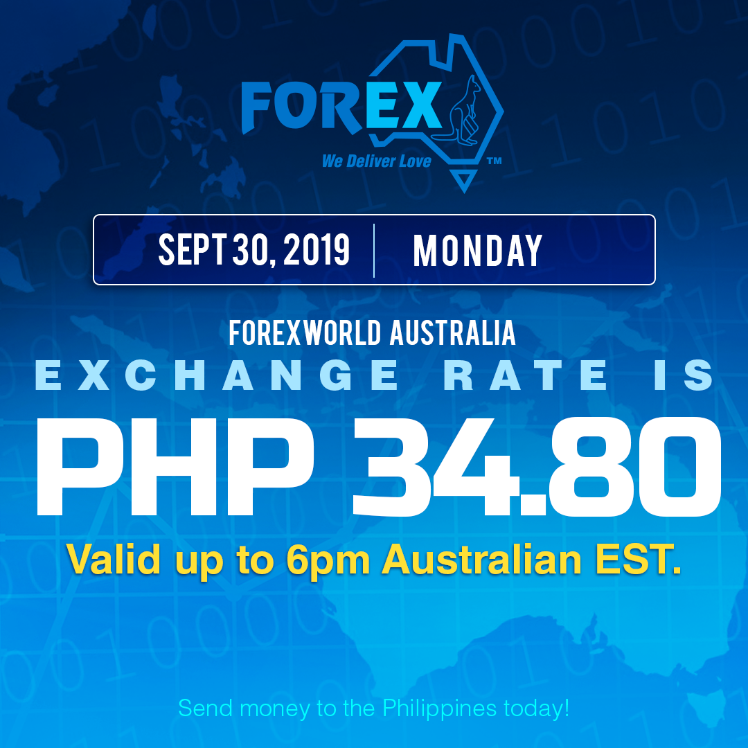 Australian Dollar Philippines Peso exchange rate September 30, 2019