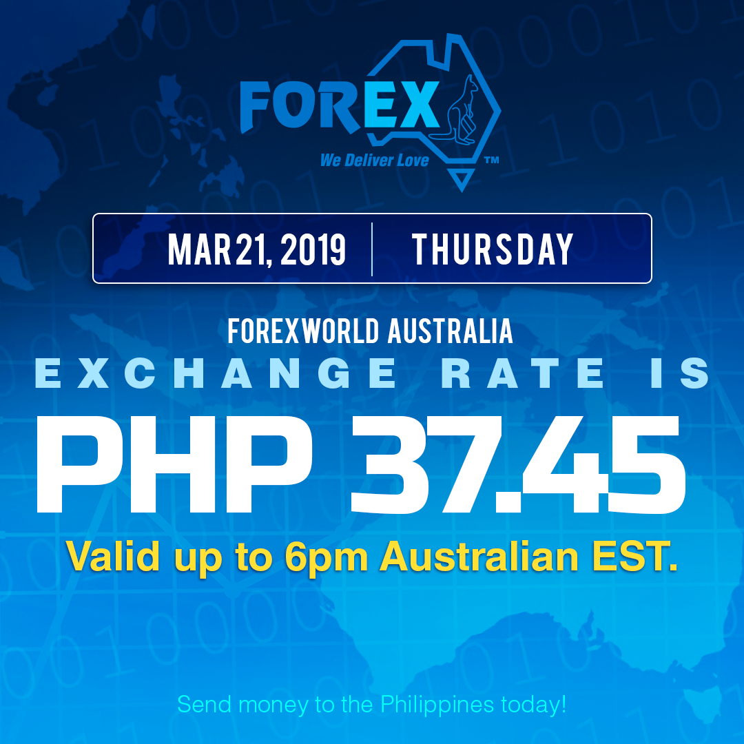 Australian Dollar Philippines Peso exchange rate March 21, 2019