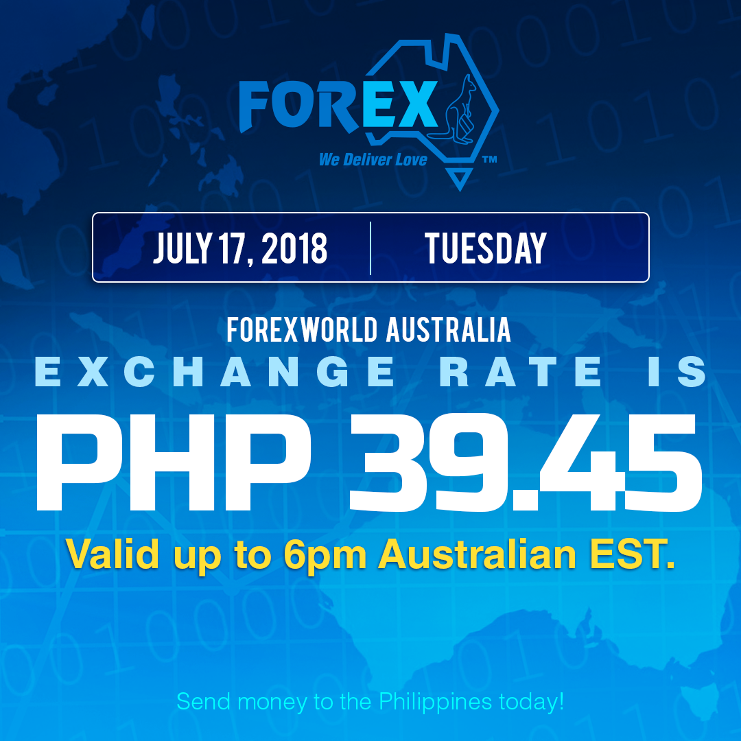 Australian Dollar Philippines Peso exchange rate July 17, 2018