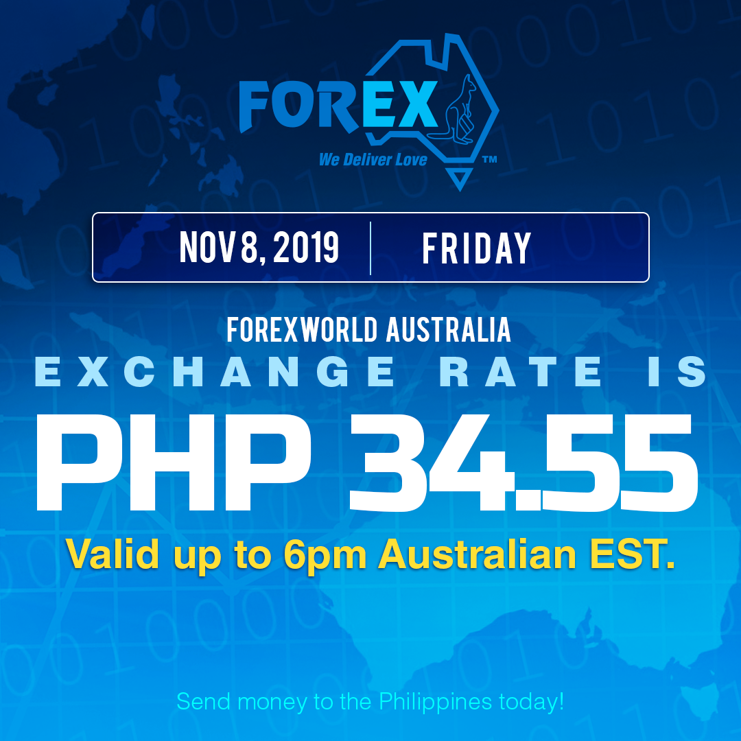 Australian Dollar Philippines Peso exchange rate November 8, 2019
