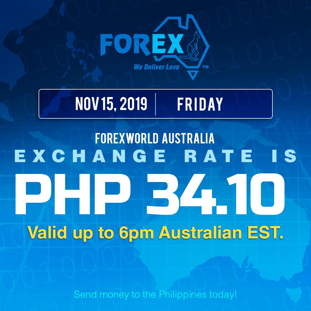 Australian Dollar Philippines Peso exchange rate November 15, 2019