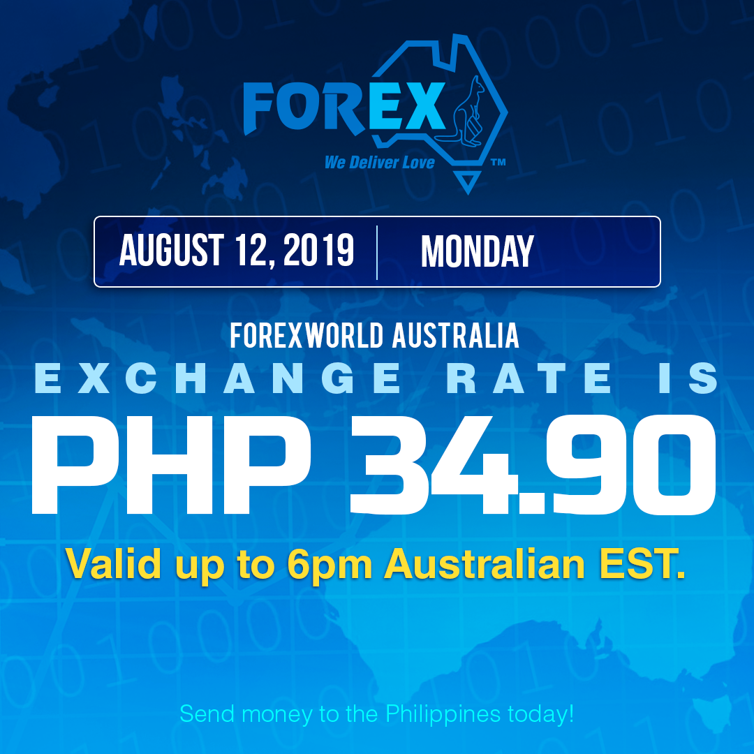 Australian Dollar Philippines Peso exchange rate August 12, 2019