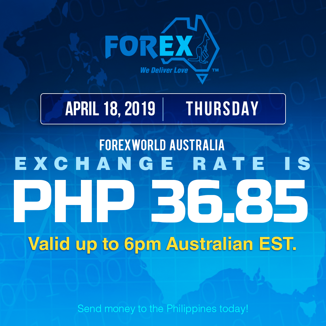 Australian Dollar Philippines Peso exchange rate April 18, 2019