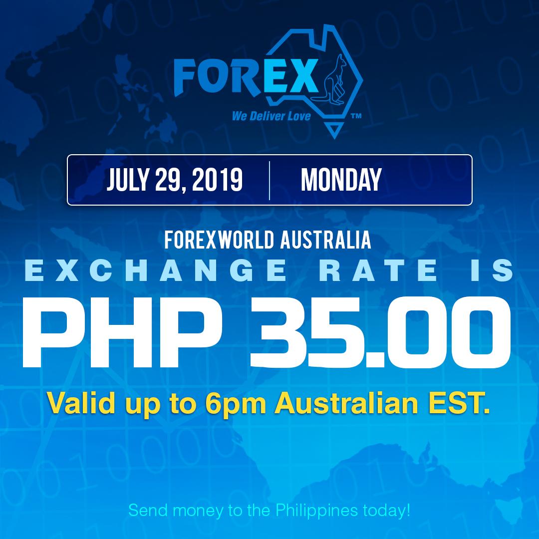 Australian Dollar Philippines Peso exchange rate July 29, 2019