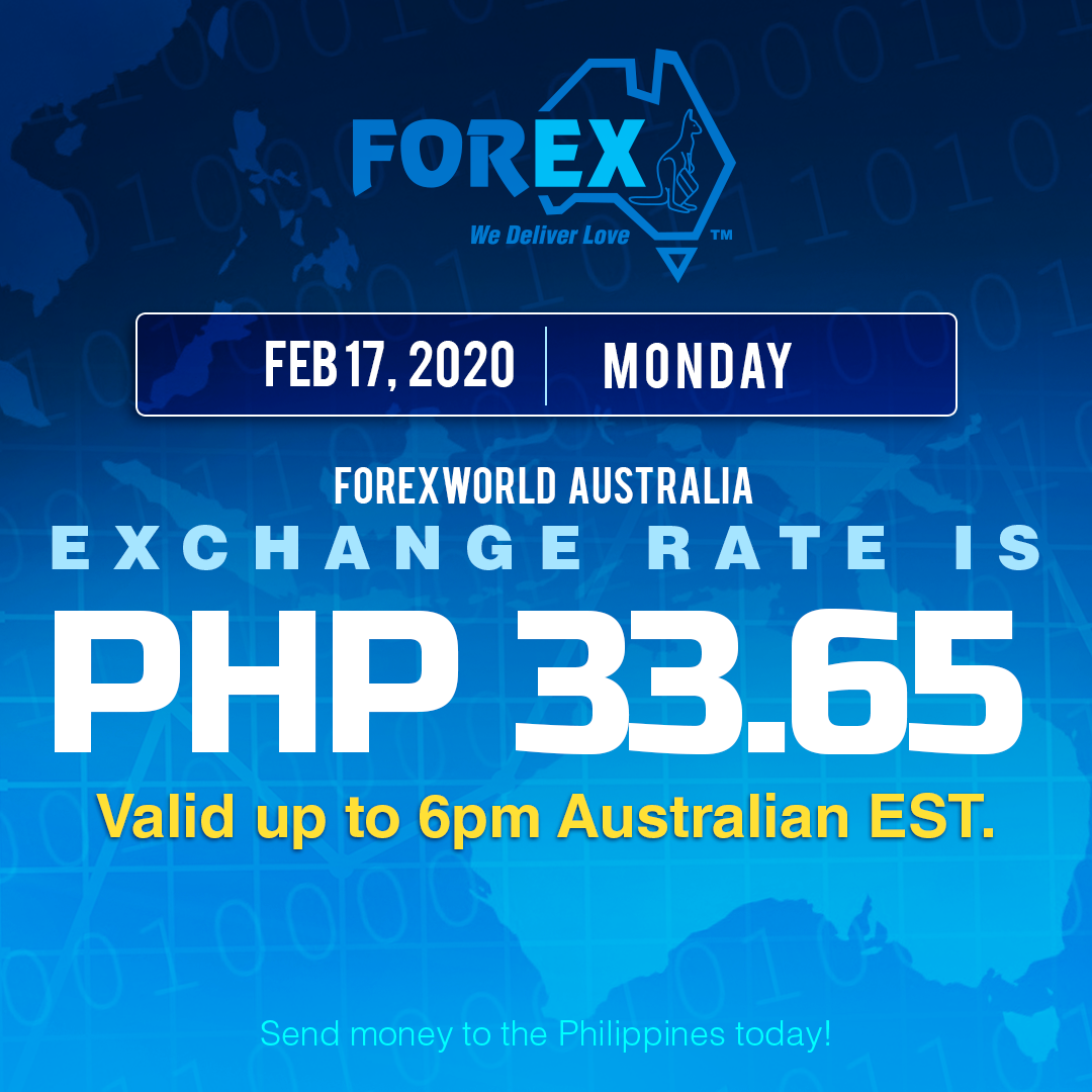 Australian Dollar Philippines Peso exchange rate February 17, 2020