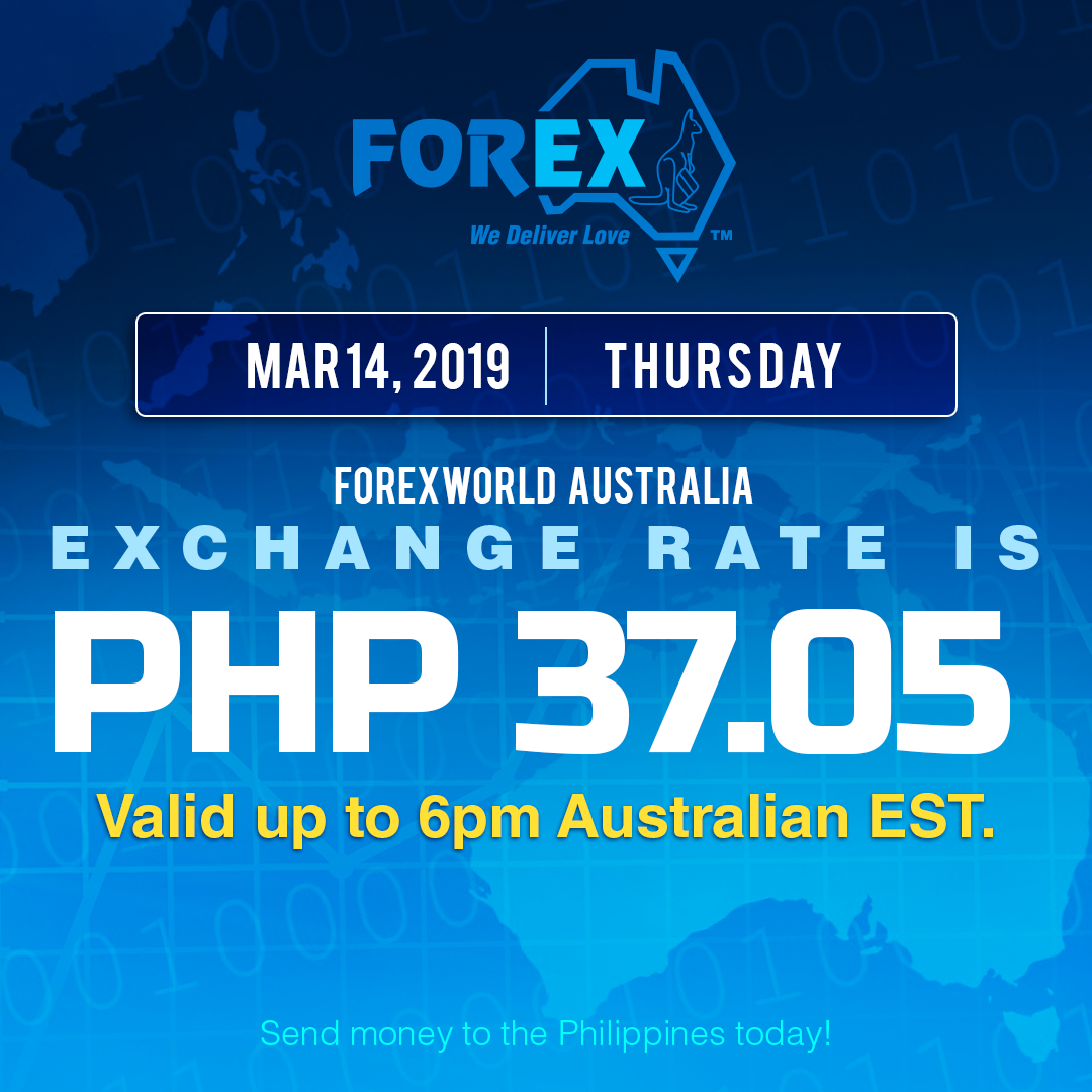 Australian Dollar Philippines Peso exchange rate March 14, 2019