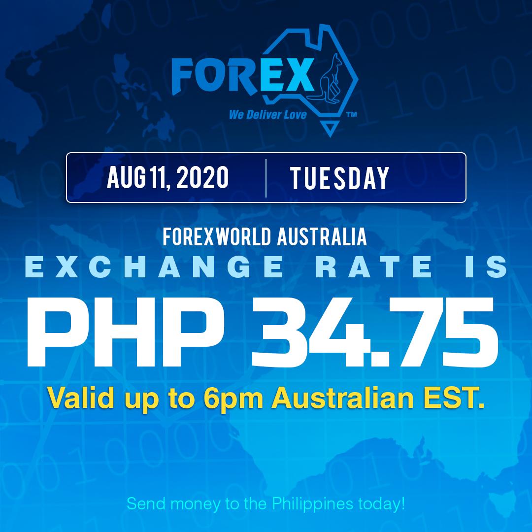 Australian Dollar Philippines Peso exchange rate August 11, 2020