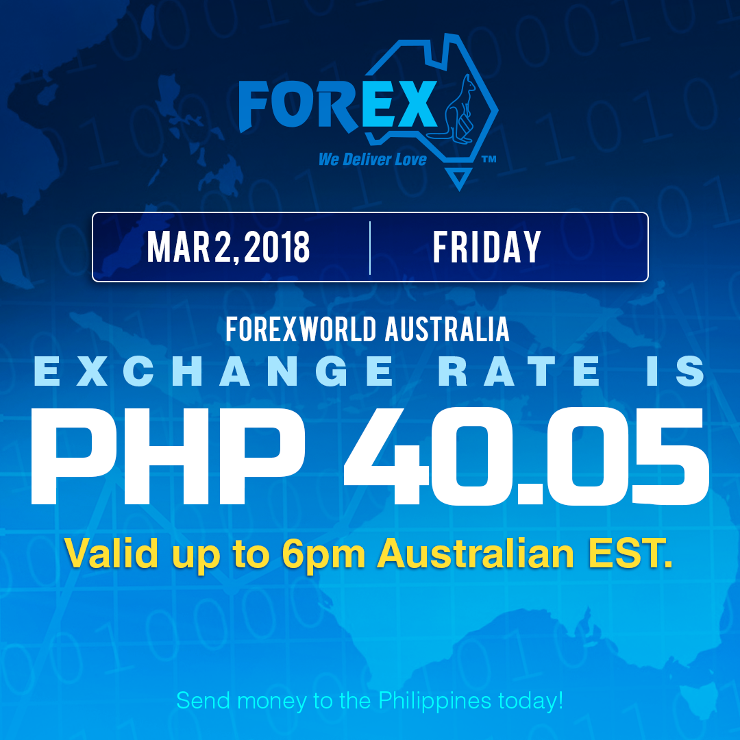 Australian Dollar Philippines Peso exchange rate March 2, 2018
