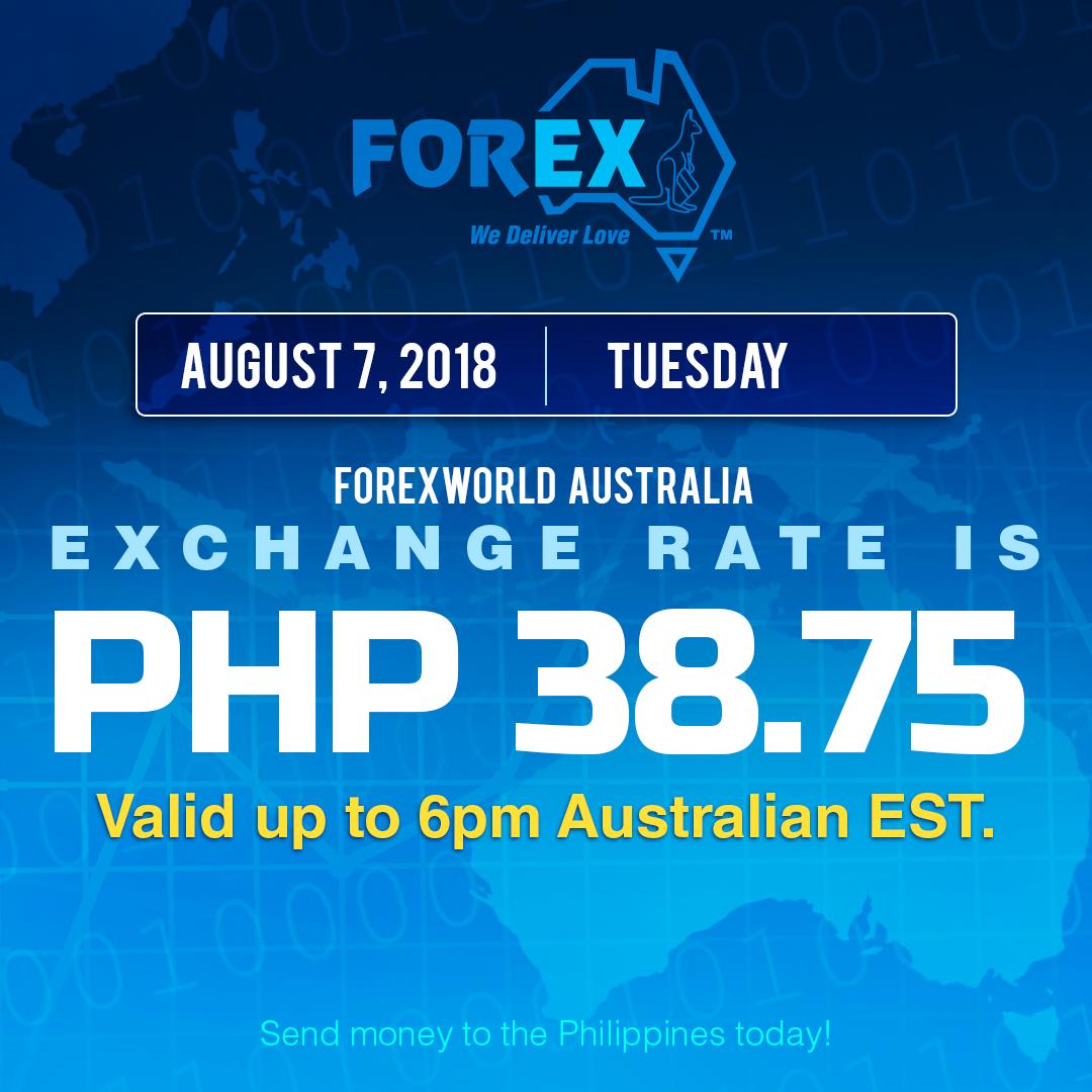 Australian Dollar Philippines Peso exchange rate August 7, 2018