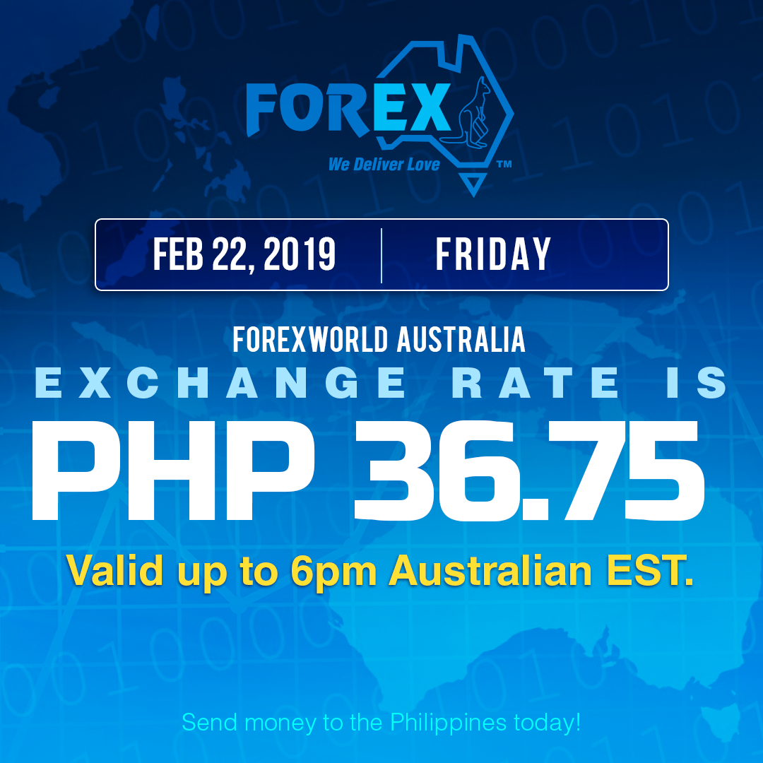 Australian Dollar Philippines Peso exchange rate February 22, 2019