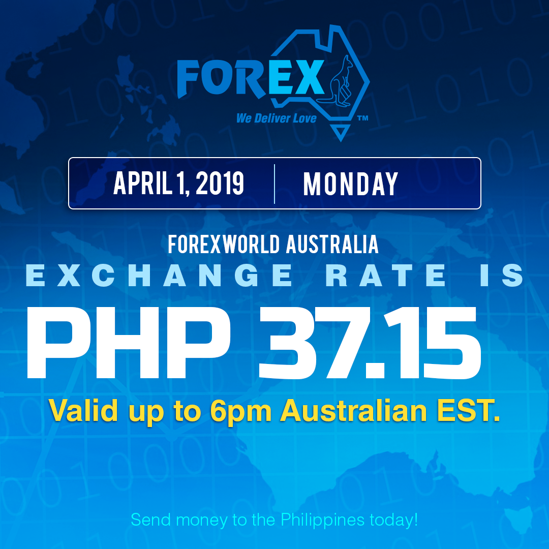 Australian Dollar Philippines Peso exchange rate April 1, 2019