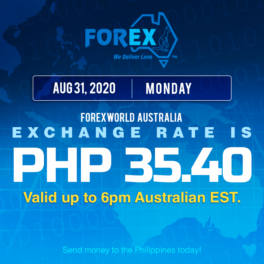Australian Dollar Philippines Peso exchange rate August 31, 2020