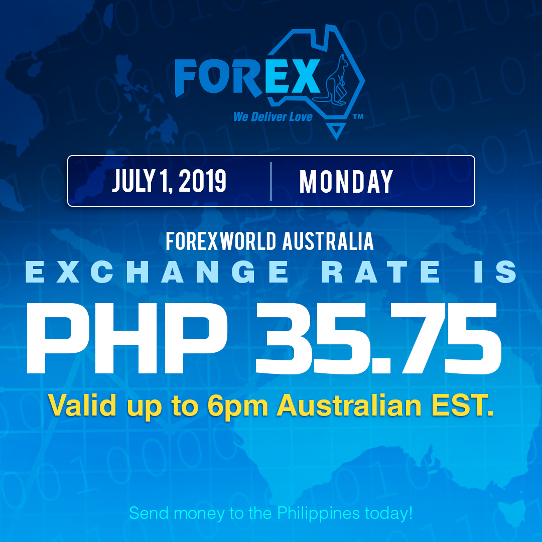Australian Dollar Philippines Peso exchange rate July 1, 2019