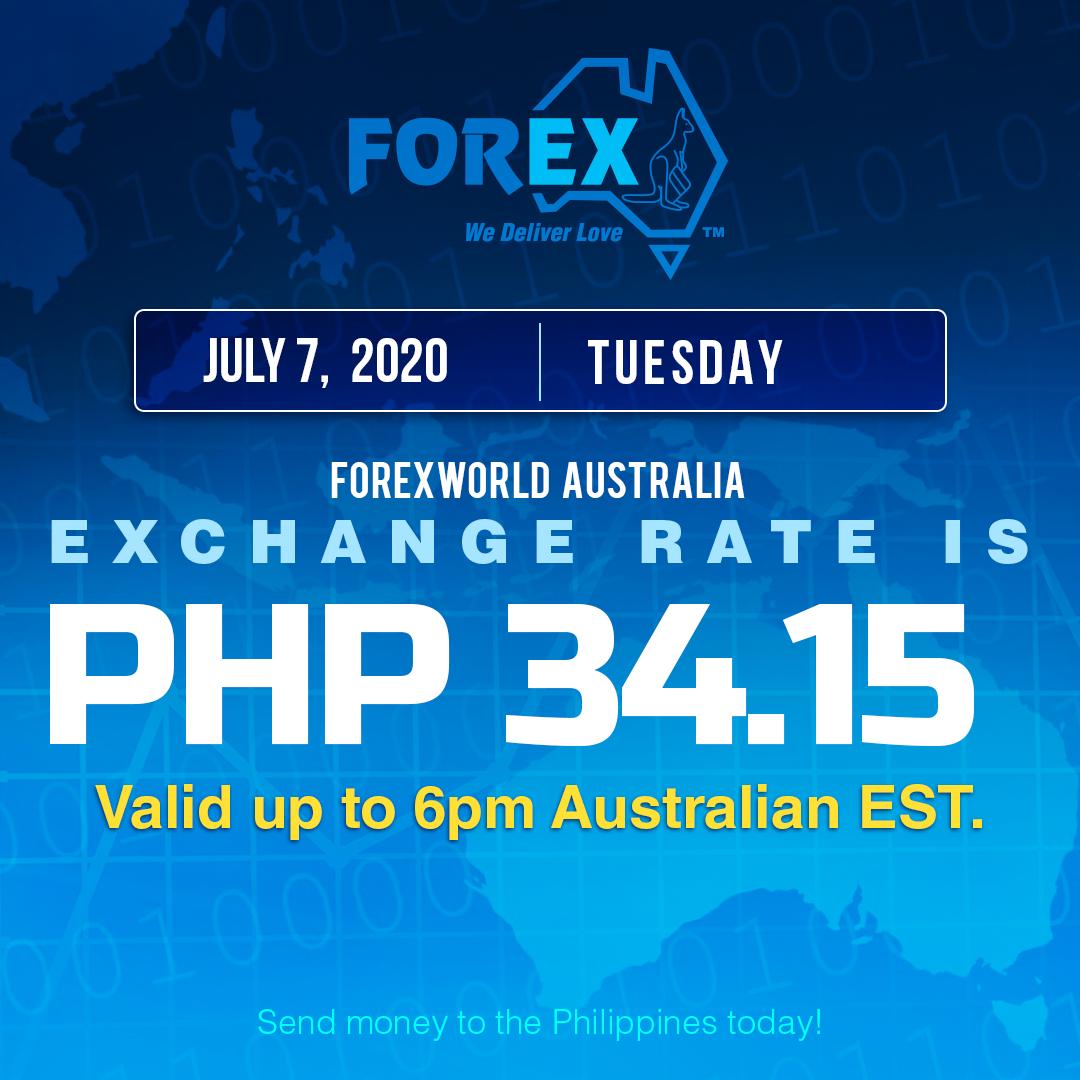 Australian Dollar Philippines Peso exchange rate July 7, 2020