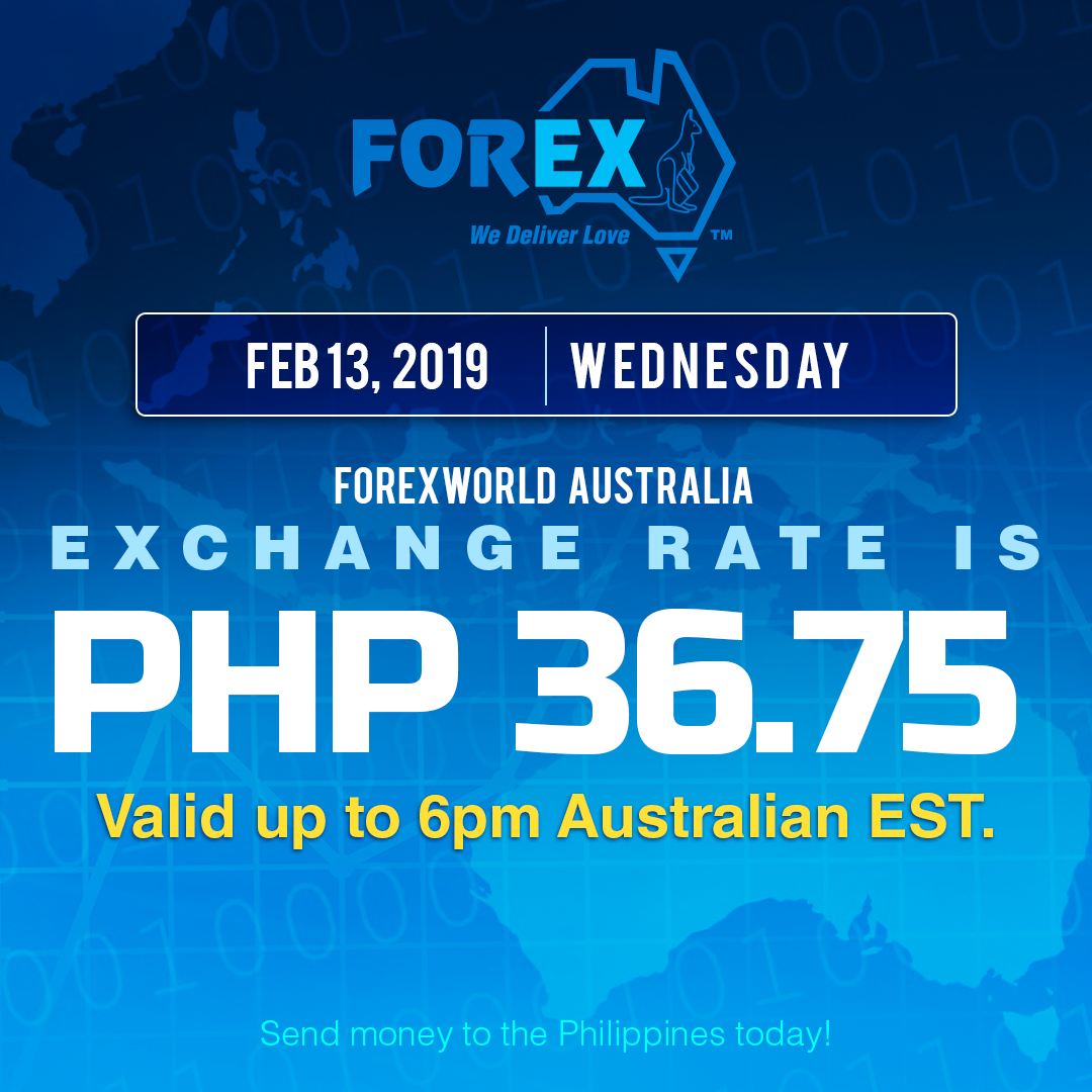 Australian Dollar Philippines Peso exchange rate February 13, 2019