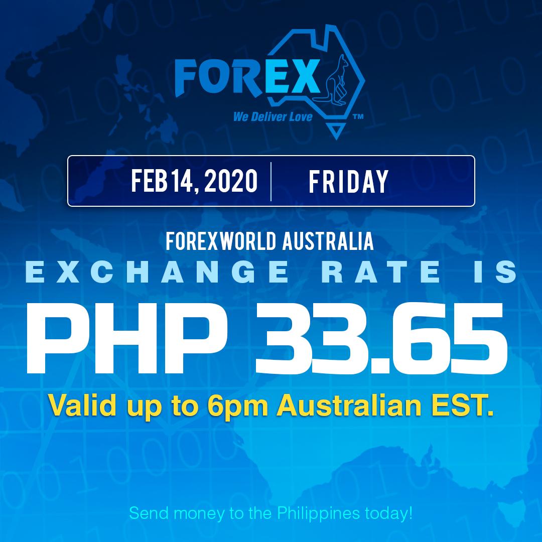 Australian Dollar Philippines Peso exchange rate February 14, 2020