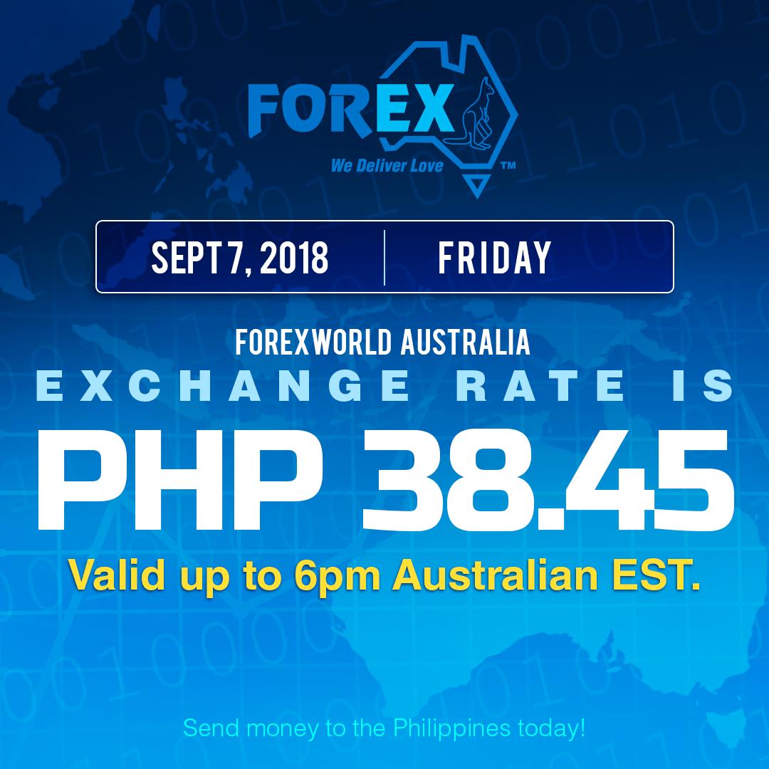 Australian Dollar Philippines Peso exchange rate September 7, 2018