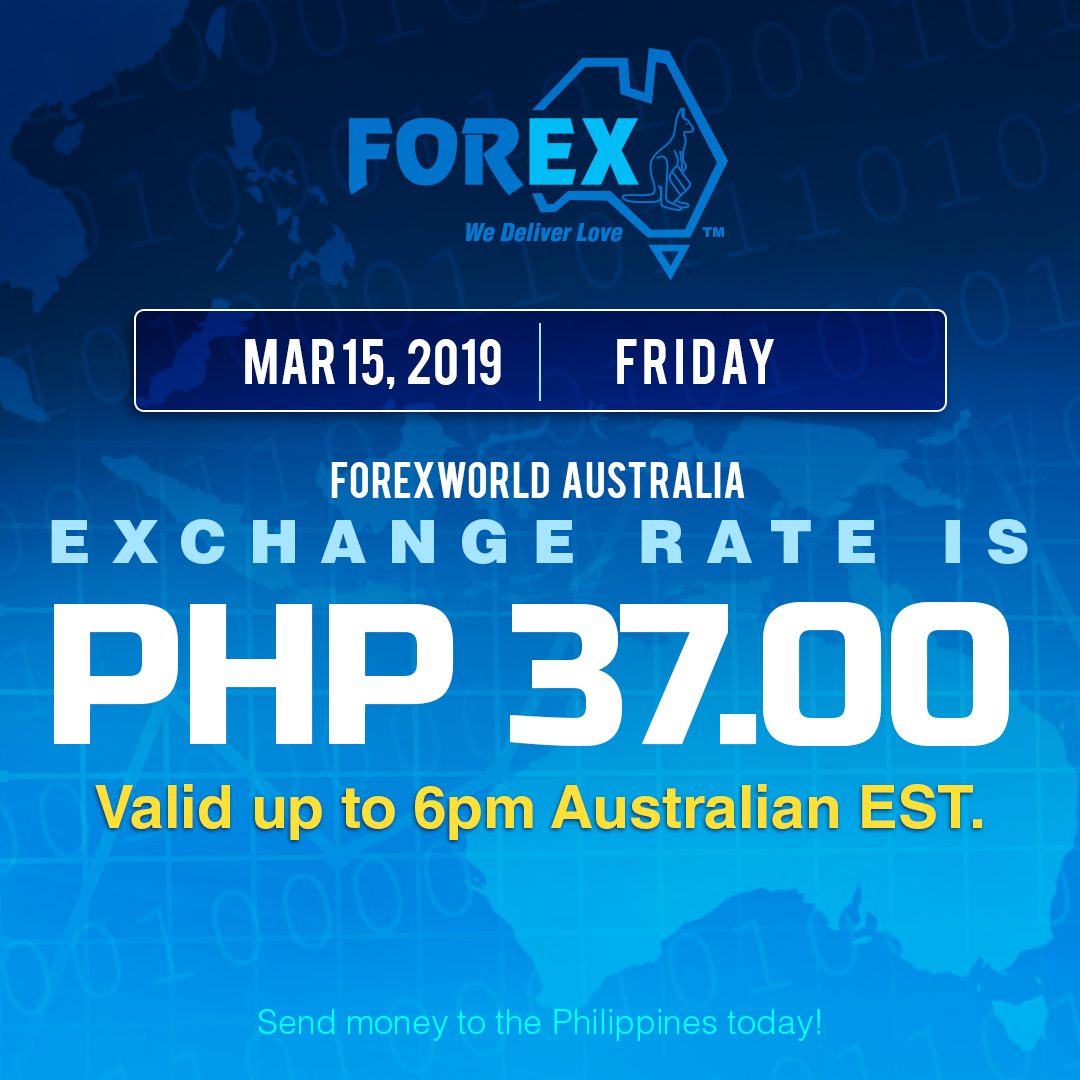Australian Dollar Philippines Peso exchange rate March 15, 2019