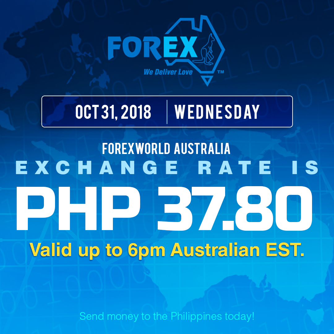 Australian Dollar Philippines Peso exchange rate October 31, 2018