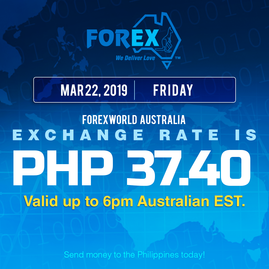 Australian Dollar Philippines Peso exchange rate March 22, 2019