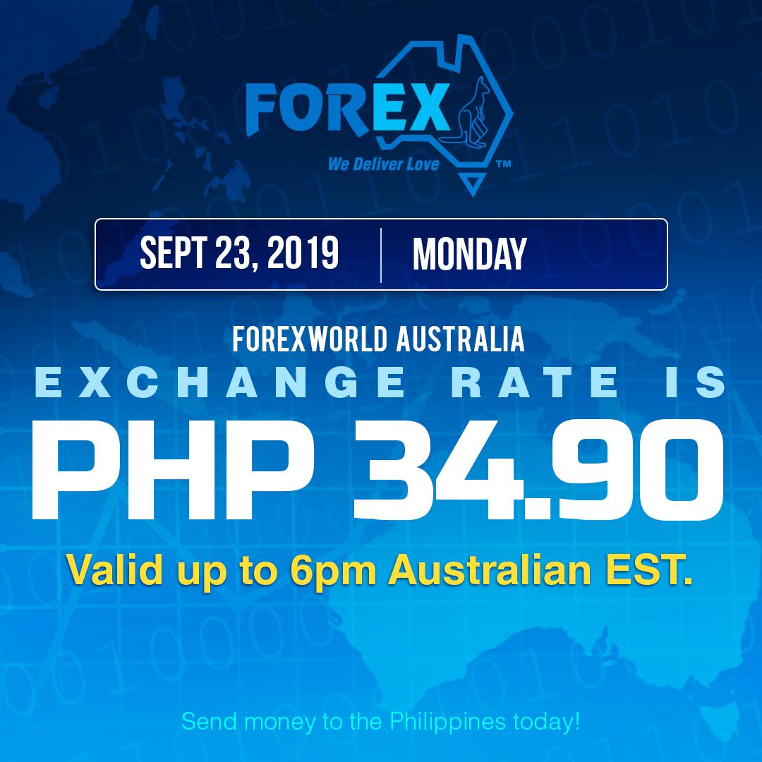 Australian Dollar Philippines Peso exchange rate September 23, 2019