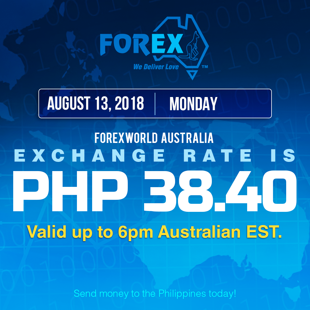 Australian Dollar Philippines Peso exchange rate August 13, 2018