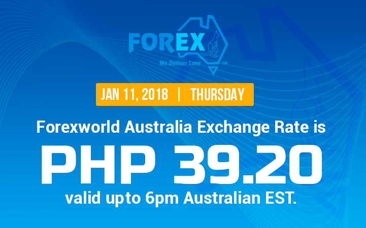 Australian Dollar Philippines Peso exchange rate January 11, 2018