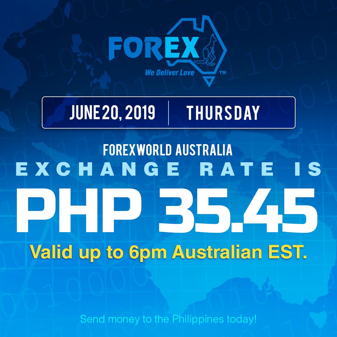 Australian Dollar Philippines Peso exchange rate June 20, 2019