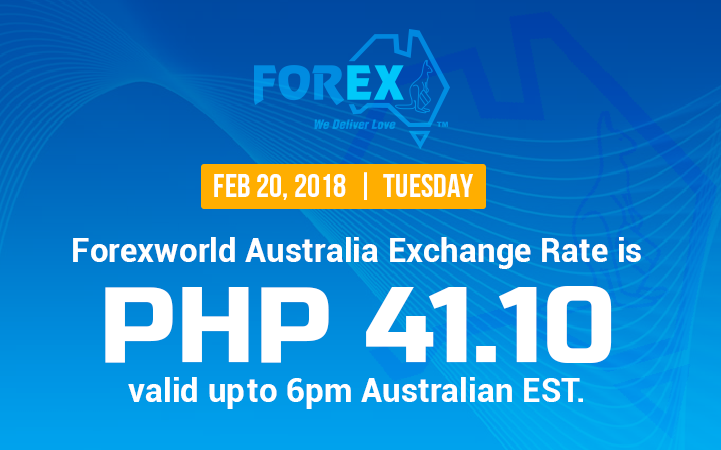 Australian Dollar Philippines Peso exchange rate February 20, 2018