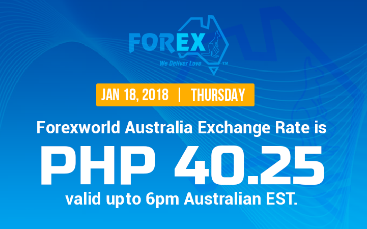 Australian Dollar Philippines Peso exchange rate January 18, 2018