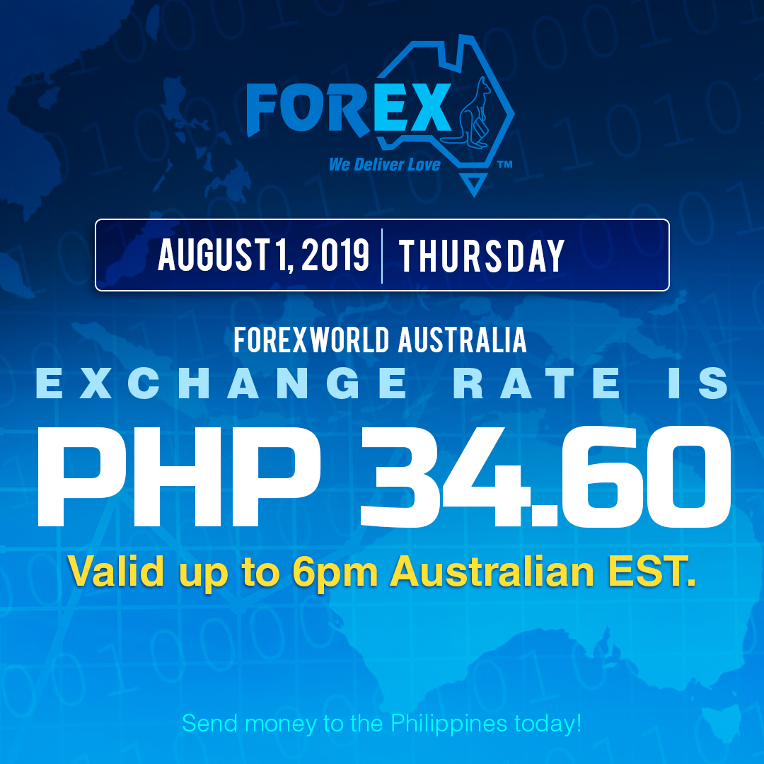 Australian Dollar Philippines Peso exchange rate August 1, 2019