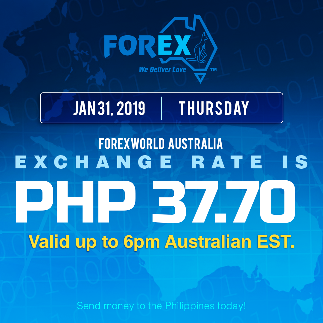 Australian Dollar Philippines Peso exchange rate January 31, 2019