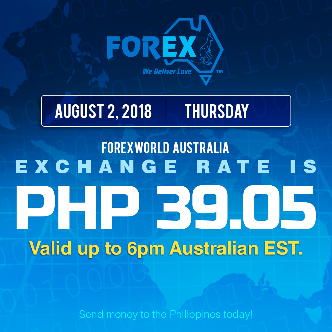 Australian Dollar Philippines Peso exchange rate August 2, 2018