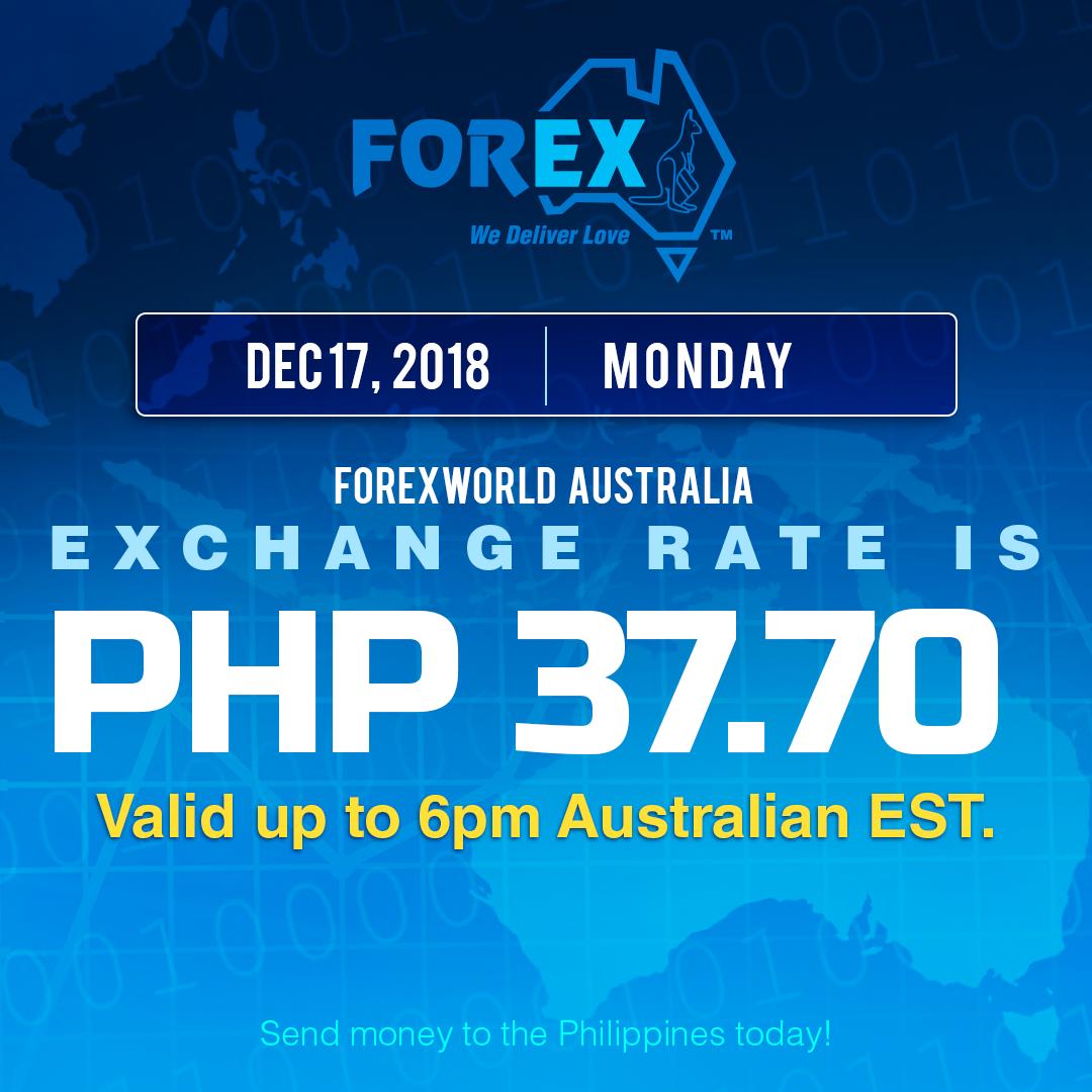 Australian Dollar Philippines Peso exchange rate December 17, 2018