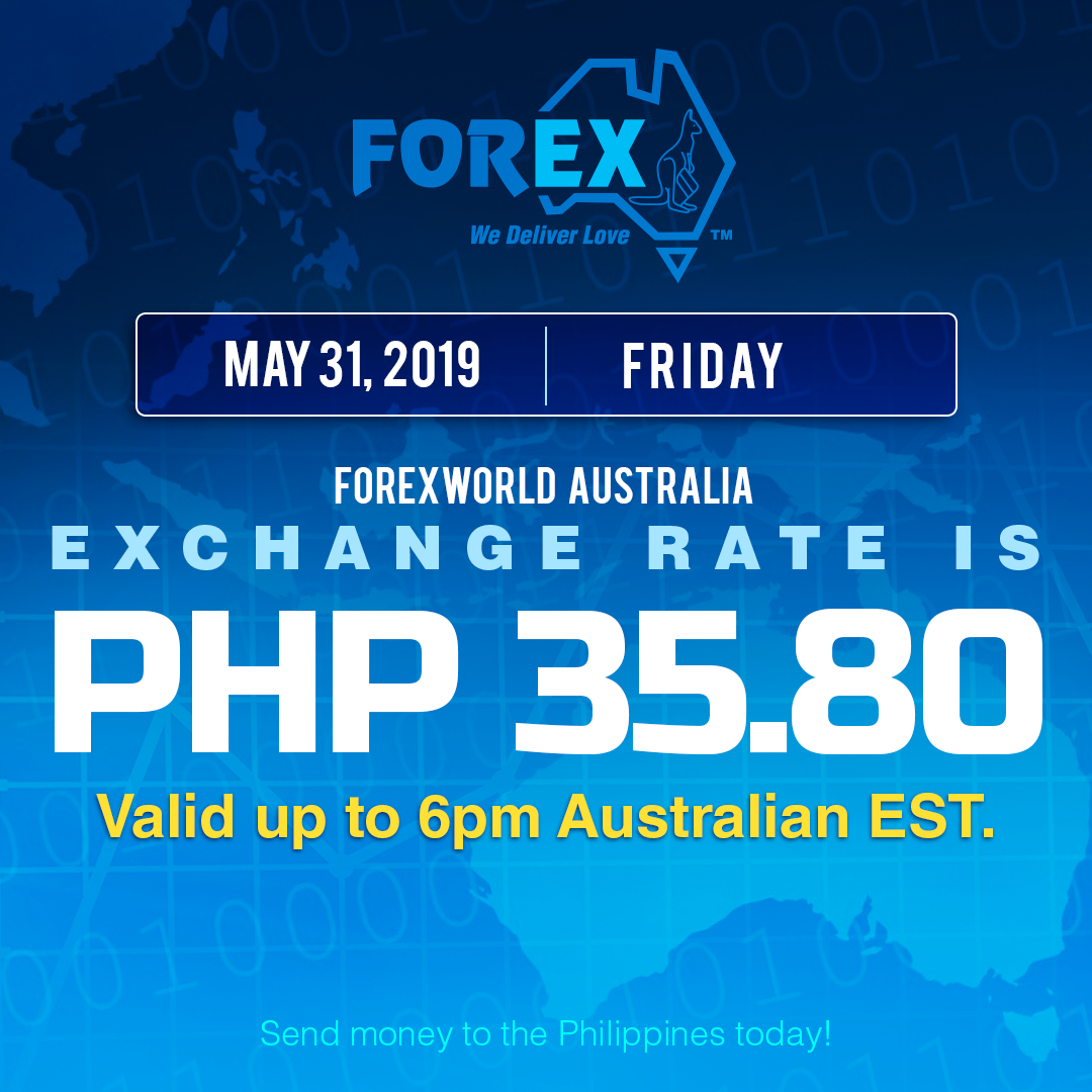 Australian Dollar Philippines Peso exchange rate May 31, 2019
