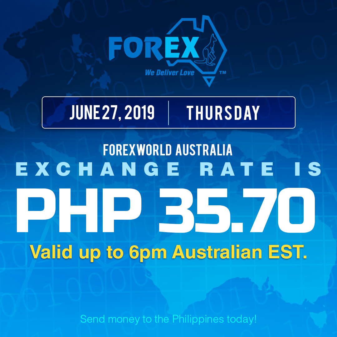 Australian Dollar Philippines Peso exchange rate June 27, 2019