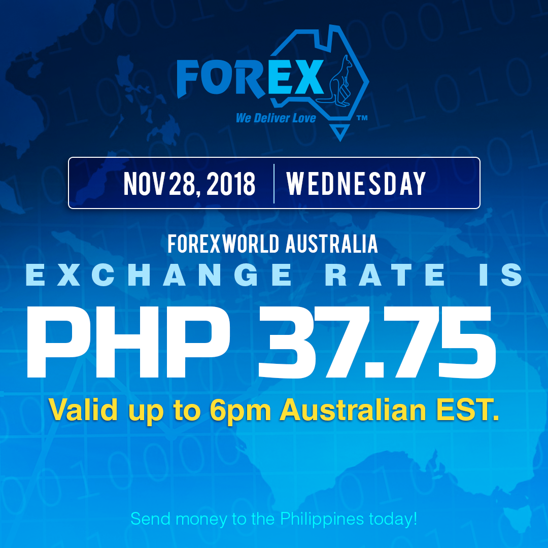 Australian Dollar Philippines Peso exchange rate November 28, 2018