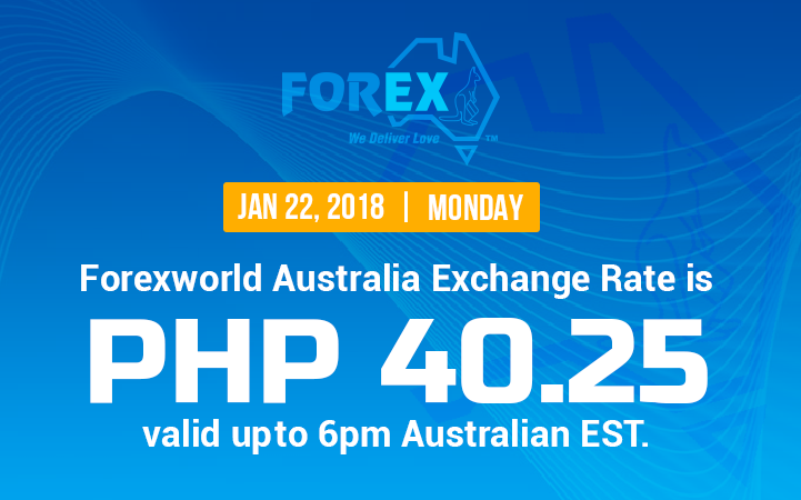 Australian Dollar Philippines Peso exchange rate January 22, 2018