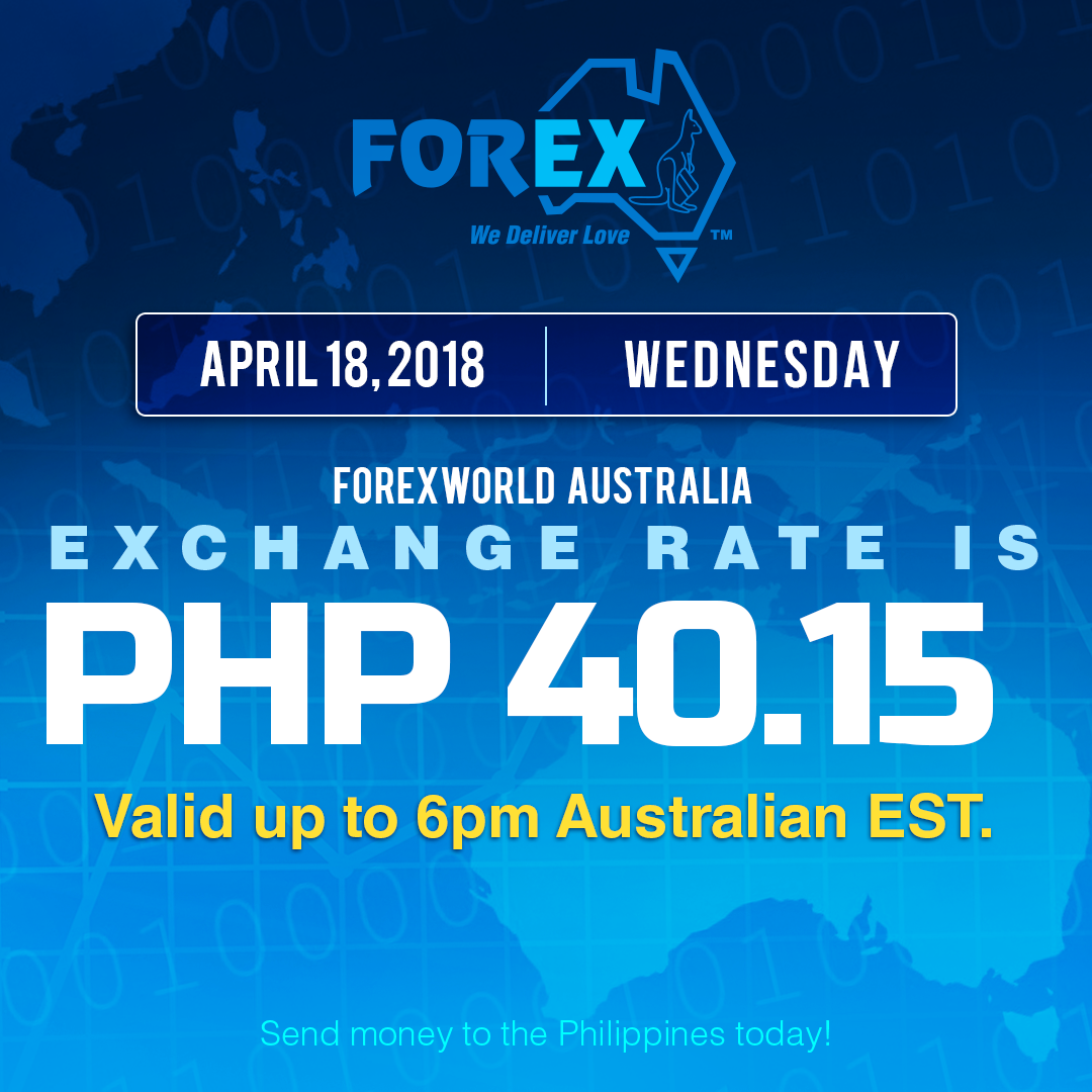 Australian Dollar Philippines Peso exchange rate April 18, 2018