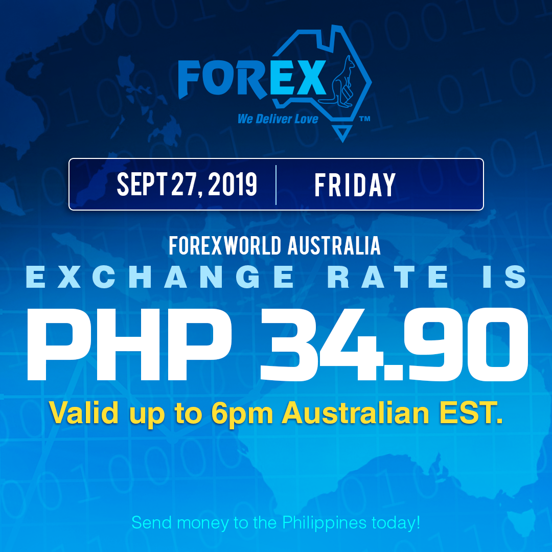 Australian Dollar Philippines Peso exchange rate September 27, 2019