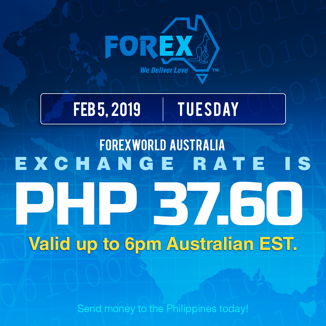 Australian Dollar Philippines Peso exchange rate February 5, 2019