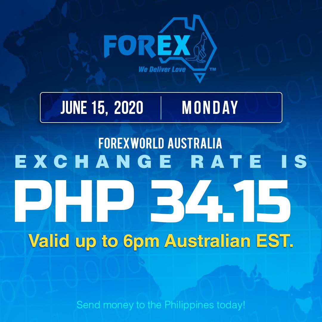 Australian Dollar Philippines Peso exchange rate June 15, 2020