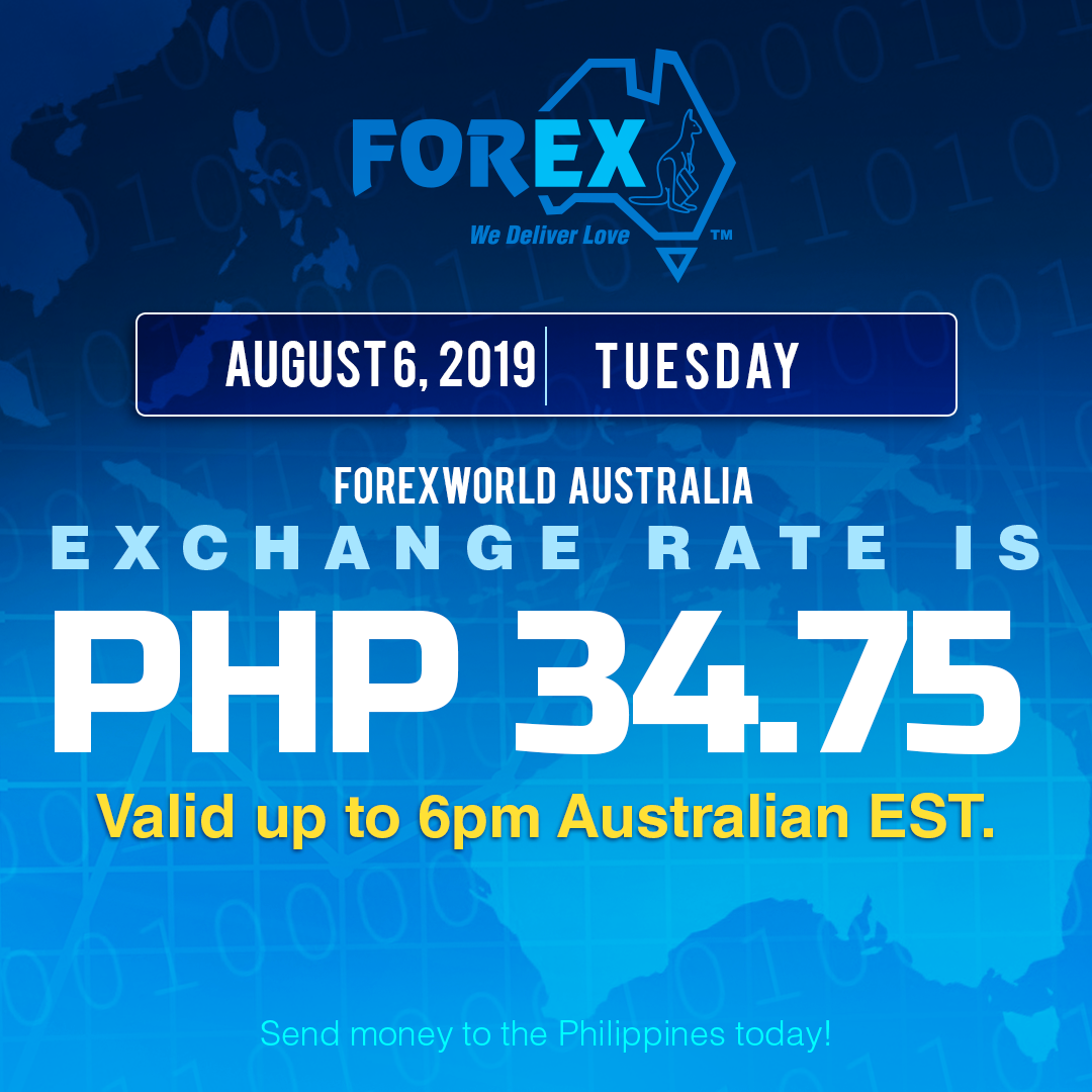 Australian Dollar Philippines Peso exchange rate August 6, 2019